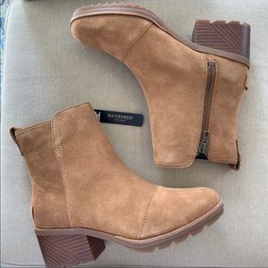 NIB Sorel Cate Booties Camel Brown Suede Leather 6